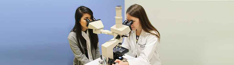 Two women looking at a microscope