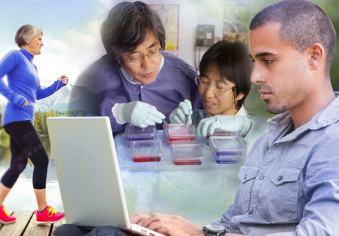 combination image with an elder running, a young man working on a laptop and researchers in the lab
