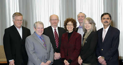 NIAMS Director Dr. Stephen Katz (second from l) and Deputy Director Dr. Robert Carter (third from r) welcome new members to the institute's council. They are (from l) Richard Seiden Dr. V. Michael Holers Dr. Amy Paller Dr. Joan Bechtold and Dr. Sundeep Khosla.