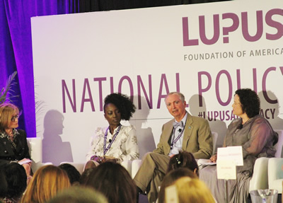 NIAMS Deputy Director Dr. Robert Carter (third from left) speaks on the importance of lupus research alongside moderator Dr. Susan Manzi (left), and panelists Monique Gore-Massy (second from left), and Michele M. Oshman (right).