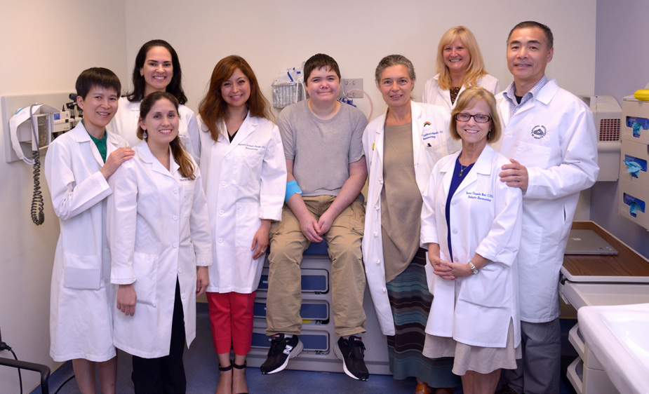 NIAMS team members include (from l) Dr. Yan Huang Dr. Bernadette Marrero Dr. Adriana A. Jesus Dr. Gina Montealegre SAVI patient Elliot Schuman Dr. Raphaela Goldbach-Mansky Patricia O'Brien Dawn Chapelle and Dr. Yin Liu.