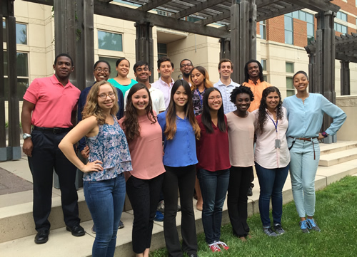 2016 summer students with Dr. Robert Walker chief of the NIAMS Career Development and Outreach Branch (center back row) and Dr. Stephanie Mathews Scientific Program Manager (3rd from left back row).