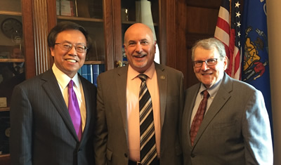 (from left) Dr. Henry Lim, Representative Mark Pocan (D-WI), and Dr. Stephen Katz