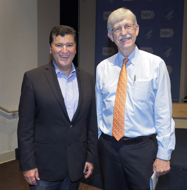 Former NIH director Dr. Elias Zerhouni (l) and current director Dr. Francis Collins