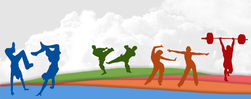 Kids' Page Banner-silhouettes of kids engaged in physical exercises