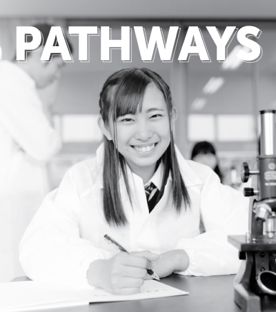 Pathways cover with a young scientist writing a paper