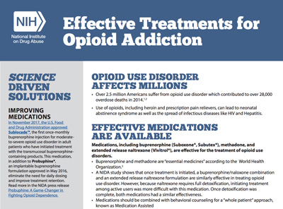 Effective Treatments for Opioid Addiction fact sheet