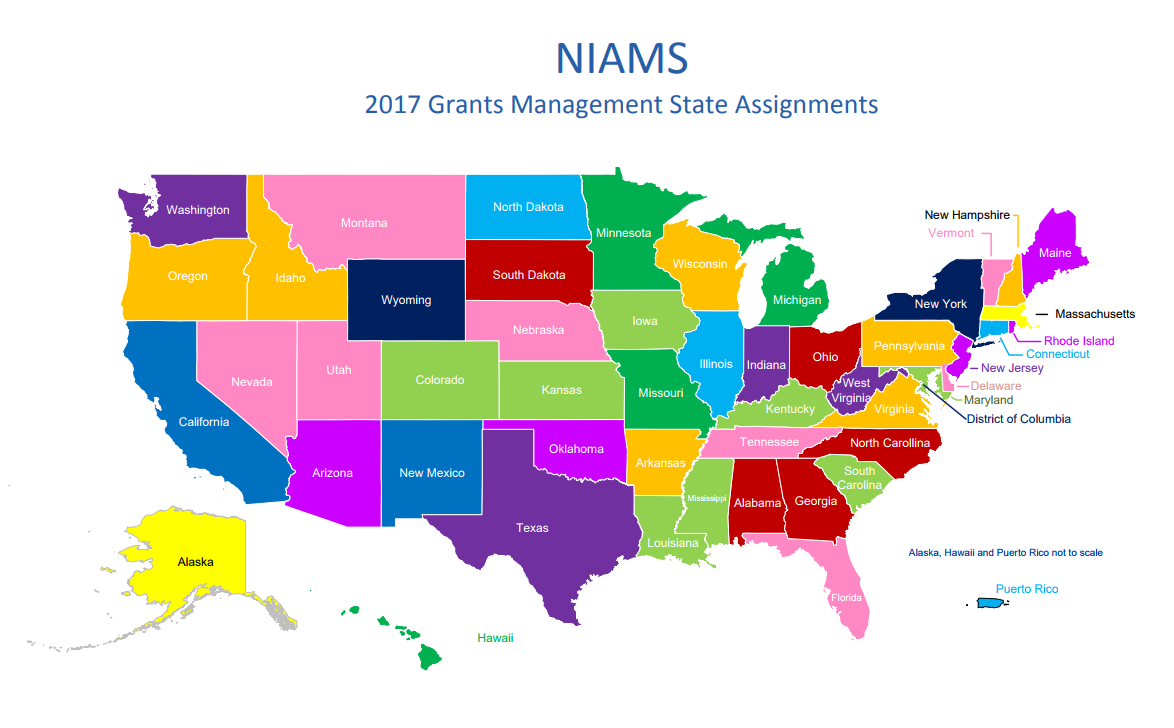 NIAMS 2017 Grants Management State Assignments