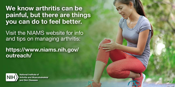 We know arthritis can be painful, but there are things you can do to feel better. Visit the NIAMS website for info and tips on managing arthritis: https://www.niams.nih.gov/outreach/