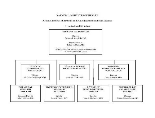 Organization chart for the National Institute of Arthritis and Musculoskeletal and Skin Diseases (NIAMS). The chart shows 8 boxes, the overarching box contains the names of the Director, Deputy Director and the Associate Director for Management and Operations. The Director of NIAMS is Stephen I. Katz, M.D., Ph.D., the Deputy Director is Robert H. Carter, M.D., the Associate Director for Management and Operations is W. Gahan Breithaupt, M.B.A. The top box subsumes 7 boxes beneath. The director's 7 direct reports are: Office of Administrative Management Director, W. Gahan Breithaupt, M.B.A., Office of Science Policy and Planning Director, Anita M. Linde, M.P.P., Office of Communication and Public Liaison Director, Janet S. Austin, Ph.D., Intramural Research Program Scientific Director, John J. O'Shea, M.D., Division of Extramural Research Activities Director, Laura K. Moen, Ph.D., Division of Musculoskeletal Diseases Director, Joan A. McGowan, Ph.D., Division of Skin and Rheumatic Diseases Director, Susana Serrate-Sztein, M.D.