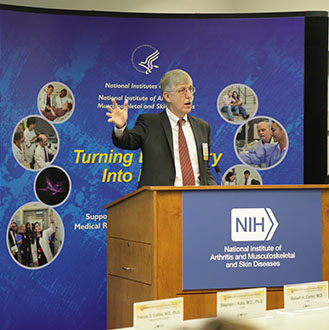 NIH Director, Francis S. Collins, M.D., Ph.D., addresses NIAMS Coalition members at the 2013 NIAMS Coalition Outreach and Education Meeting
