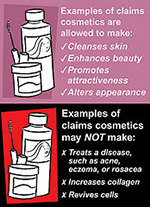Image describing the examples of claims cosmetics are and are not allowed to make