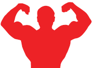 graphic of man flexing muscles
