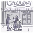Illustration of family walking in front of a grocery store