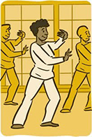 An illustration of people doing tai chi and smiling.