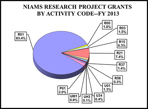 Pie chart showing NIAMS Research and Project Grant percentages by activity code. R01 is 83.4%, P01 is 2.0%, UM1 is 0.9%, UH3 is 0.1%, U34 is 0.4%, U01 is 1.3%, R56 is 0.3%, R37 is 1.4%, R21 is 7.4%, R15 is 0.3%, R03 is 1.5%, R00is 1.0%,