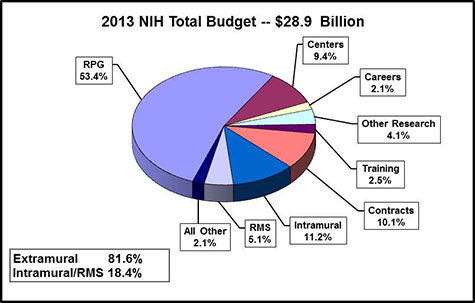 Pie chart shows N.I.H's total budget is $28.9 billion. Extramural spending is 81.6%. Intramural and Research management and support spending is 18.4%. All Other, 2.1%. Research management and support, 5.1%. Intramural research, 11.2%. Contracts, 10.1%. Training, 2.5%. Other research, 4.1%. Careers, 2.1%. Centers, 9.4%. Research project grants (R.P.Gs) 53.4%.
