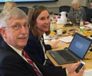 #PMINetwork Twitter chat with @NIHDirector Francis Collins, NIH Media Branch's @RenateMyles, and, in the background, PMI Cohort Program Acting Director @NCCIH_Josie Briggs.