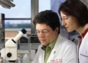 Photo of Dr. Richard Siegel and staff member conducting research.