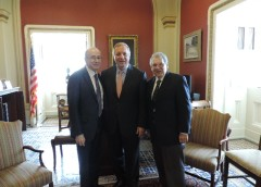 From left: Mark Lebwohl M.D. Senator Richard Durbin (D-IL) Stephen I. Katz M.D. Ph.D. during the July 28 2015 American Academy of Dermatology Association visits to Capitol Hill.