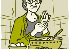 Illustration of senior rubbing aching hand joints while cooking.