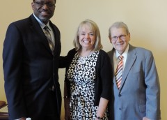 NIAMS Director Stephen I. Katz, M.D., Ph.D. (right), with Carolyn Levering, President and CEO of the Marfan Foundation, and Gary Gibbons, M.D., Director, National Heart, Lung and Blood Institute, pause for a picture at a Congressional briefing.